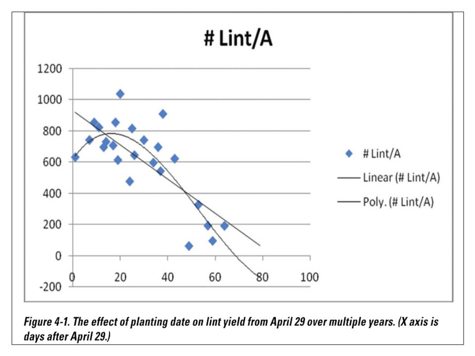 Image of chart showing the effect of planting date on lint yield