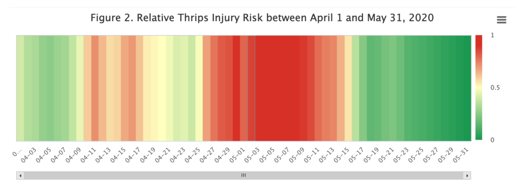 Relative thrips injury risk chart