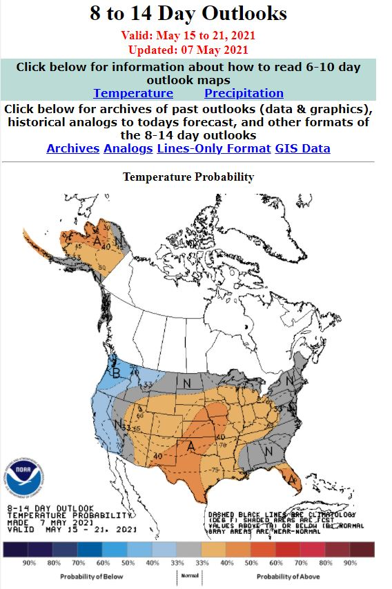 8 to 14 day temperature map